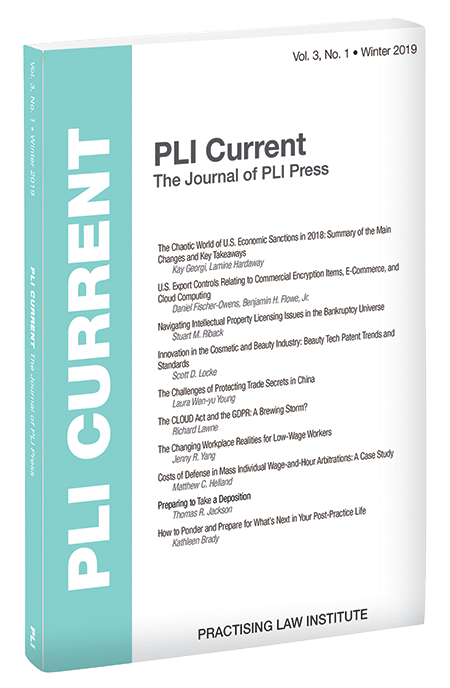 PLI Current: The Journal of PLI Press, Vol. 3, No. 1 (Winter 2019)